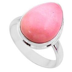 925 sterling silver 9.53cts natural pink opal solitaire ring size 8 r66184