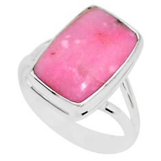 925 sterling silver 10.34cts natural pink petalite solitaire ring size 9 r95550