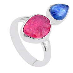 925 sterling silver 8.80cts natural pink ruby raw kyanite ring size 7 t48963