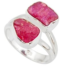 925 sterling silver 10.02cts natural pink ruby rough ring jewelry size 6 r38389