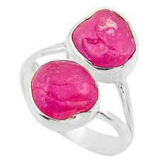 925 sterling silver 11.66cts natural pink ruby rough ring jewelry size 8 r49135