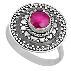 925 sterling silver 1.12cts natural pink ruby solitaire ring size 7.5 r65159