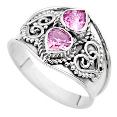 925 sterling silver 1.78cts natural pink tourmaline heart ring size 7 t44880