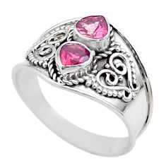 925 sterling silver 1.81cts natural pink tourmaline heart ring size 8.5 t44868