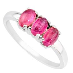 925 sterling silver 3.11cts natural pink tourmaline oval ring size 7 r82724