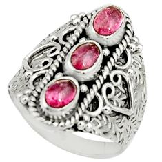925 sterling silver 3.04cts natural pink tourmaline ring jewelry size 8 r22509