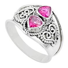 925 sterling silver 1.84cts natural pink tourmaline ring jewelry size 8 t44871