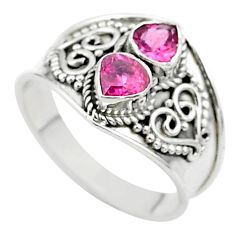 925 sterling silver 1.74cts natural pink tourmaline ring jewelry size 8 t44896