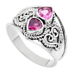 925 sterling silver 1.70cts natural pink tourmaline ring jewelry size 8 t44898