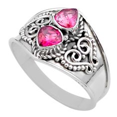 925 sterling silver 1.70cts natural pink tourmaline ring jewelry size 9 t44874