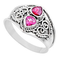 925 sterling silver 1.74cts natural pink tourmaline ring jewelry size 9 t44877