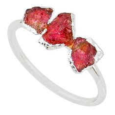 925 sterling silver 3.84cts natural pink tourmaline raw ring size 9 r70714