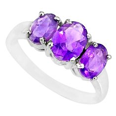 925 sterling silver 4.87cts natural purple amethyst oval ring size 9 r84080