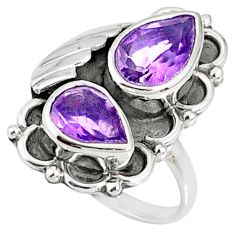 925 sterling silver 6.72cts natural purple amethyst pear ring size 9 r67323