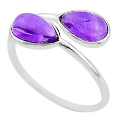 925 sterling silver 4.05cts natural purple amethyst pear shape ring size 9 t1704