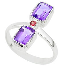 925 sterling silver 3.37cts natural purple amethyst red garnet ring size 7 t5580