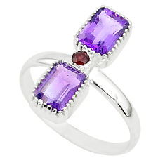 925 sterling silver 3.17cts natural purple amethyst red garnet ring size 7 t5597