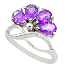 925 sterling silver 3.93cts natural purple amethyst ring jewelry size 6.5 r25383