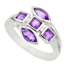 925 sterling silver 3.93cts natural purple amethyst ring jewelry size 7.5 r25504