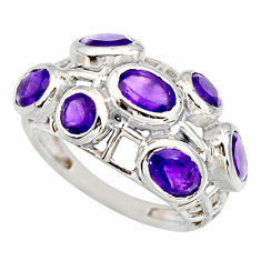 925 sterling silver 5.97cts natural purple amethyst ring jewelry size 7.5 r25704
