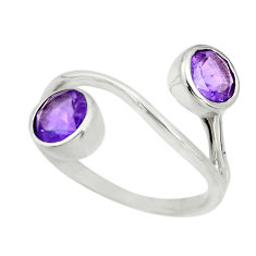 925 sterling silver 2.93cts natural purple amethyst round ring size 7.5 r25520