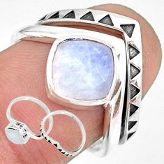 925 sterling silver 3.42cts natural rainbow moonstone 2 rings size 7.5 r83748