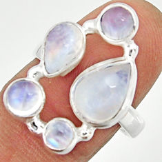 925 sterling silver 6.62cts natural rainbow moonstone pear ring size 7.5 r22247