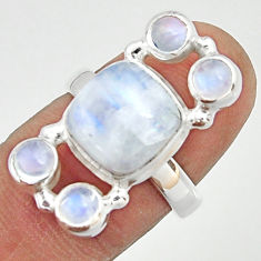 925 sterling silver 7.48cts natural rainbow moonstone ring jewelry size 7 r22244