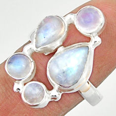 925 sterling silver 8.14cts natural rainbow moonstone ring jewelry size 8 r22255