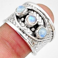 925 sterling silver 1.81cts natural rainbow moonstone ring jewelry size 8 r38039