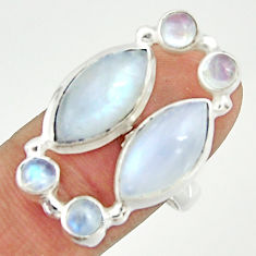 925 sterling silver 12.54cts natural rainbow moonstone ring size 8.5 r22224