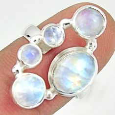 925 sterling silver 6.48cts natural rainbow moonstone ring size 6.5 r22228