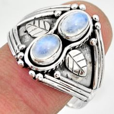 925 sterling silver 1.96cts natural rainbow moonstone ring size 8.5 r26839
