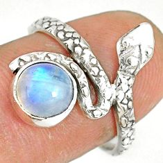 925 sterling silver 2.44cts natural rainbow moonstone snake ring size 7.5 r78658