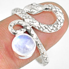 925 sterling silver 2.41cts natural rainbow moonstone snake ring size 9.5 r82579