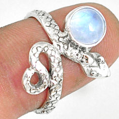 925 sterling silver 2.28cts natural rainbow moonstone snake ring size 7 r78618