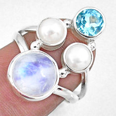 925 sterling silver 6.31cts natural rainbow moonstone topaz ring size 7 r57559