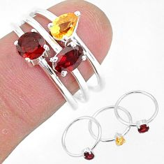 925 sterling silver 2.76cts natural red garnet citrine 3 rings size 6.5 r93080