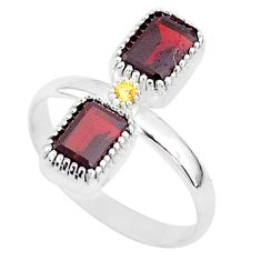 925 sterling silver 2.89cts natural red garnet citrine ring jewelry size 7 t5591