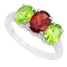 925 sterling silver 5.45cts natural red garnet green peridot ring size 7 r84084