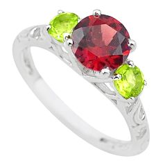 925 sterling silver 3.42cts natural red garnet green peridot ring size 8 t20339