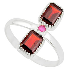 925 sterling silver 3.83cts natural red garnet octagan ruby ring size 10 r77253