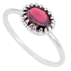 925 sterling silver 2.08cts natural red garnet oval ring jewelry size 6 t8140