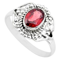 925 sterling silver 1.46cts natural red garnet oval solitaire ring size 6 t4110