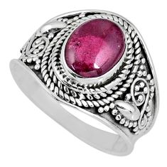 925 sterling silver 3.26cts natural red garnet oval solitaire ring size 7 r58392