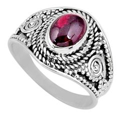 925 sterling silver 2.05cts natural red garnet oval solitaire ring size 7 r58649