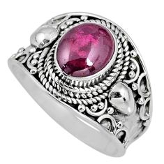 925 sterling silver 3.20cts natural red garnet oval solitaire ring size 8 r58384