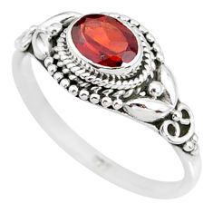 925 sterling silver 1.52cts natural red garnet oval solitaire ring size 8 r85624