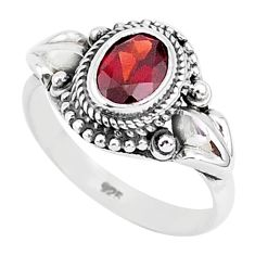 925 sterling silver 2.20cts natural red garnet oval solitaire ring size 8 r93880