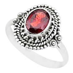 925 sterling silver 2.11cts natural red garnet oval solitaire ring size 8 t3575